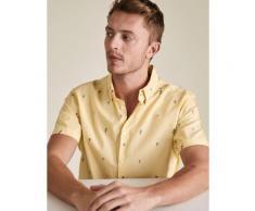Mens M&S Collection Chemise 100 % coton à manches courtes et motif palmier - Yellow Mix