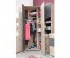 CRDIS Armoire d'angle enfant en bois chêne et gris, 2 portes, Gamme Faro