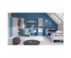 CRDIS Armoire d'angle enfant en bois blanc, gris et bleu, 2 portes, Gamme Porto