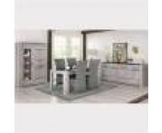 M-027 Salle à manger complète moderne couleur chêne gris ANGUS-L 180 x P 100 x H 78 cm- Gris