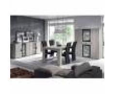 M-027 Salle à manger complète LED couleur chêne gris SOPHIE-L 180 x P 100 x H 75 cm- Gris