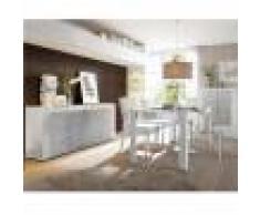 Kasalinea Salle à manger complète blanc laqué brillant et béton BROOKLYN