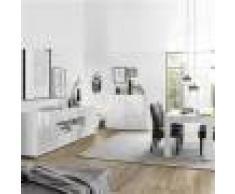 Kasalinea Séjour design blanc laqué enfilade + table 180 NINO-L 180 x P 90 x H 79 cm- Blanc