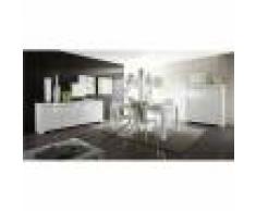 Kasalinea Salle à manger complète blanc laqué design PAULA-L 120 x P 50 x H 140 cm- Blanc