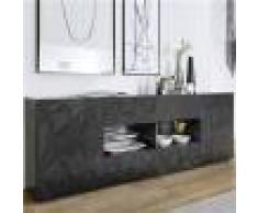 Kasalinea Enfilade gris laqué design 2 portes 4 tiroirs NINO 2-L 241 x P 42 x H 84 cm- Gris