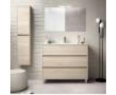 CAESAROO Meuble de salle de bain sur le sol 100 cm marron Caledonia avec lavabo en porcelaine Avec miroir et lampe LED