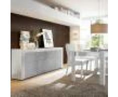 NOUVOMEUBLE Salle à manger design blanc laqué et effet béton TUNIS 2
