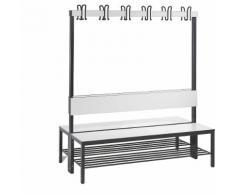 Banc de vestiaire BASIC PLUS double face surface de l'assise en stratifié HPL, barre à patères, avec grille pour chaussures | CP