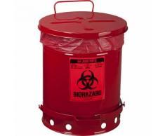 Poubelle de sécurité en tôle d'acier pour déchets à risques biologiques autocollant BIOHAZARD, capacité 34 l, avec pédale   Justrite