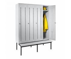 Vestiaire avec banc monté en dessous portes en tôle perforée, largeur compartiments 400 mm, 4 compartiments | Wolf