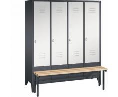 Vestiaire CLASSIC avec banc frontal 4 compartiments, largeur compartiments 400 mm | CP