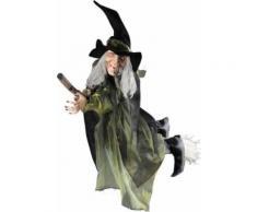 Décoration sorcière volante sur balai 100 cm halloween Taille Unique