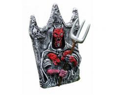 Décoration Halloween pierre tombale grise démon rouge 40x46cm DE Taille Unique