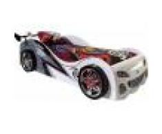 Destock Meubles Lit enfant voiture de course blanc et noir 90x200