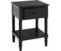 Destock Meubles Chevet enfant pin massif noir 1 tiroir 1 étagère – ALANA