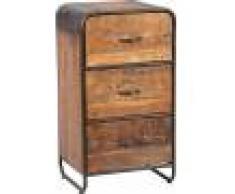 Destock Meubles Chiffonnier industriel métal et bois aspect vieilli 3 tiroirs