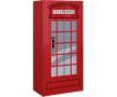 Destock Meubles Armoire enfant cabine téléphonique rouge 2 portes 1 tiroir
