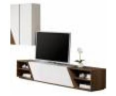 Destock Meubles Composition design meuble TV laque et noyer 4 niches