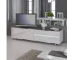 NOUVOMEUBLE Banc TV avec led design laqué blanc LAUREA avec éclairage à LED intégré