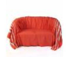 Fouta Futée ISTANBUL - Jeté de canapé coton rouge lurex rayures argent 200 x 300