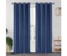Home Maison Paire de rideaux occultants effet maille polyester bleu 260x140