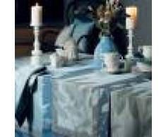 Garnier Thiebaut Chemin de table pur coton bleu 155X55
