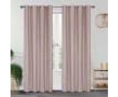 Home Maison Paire de rideaux occultants effet maille polyester rose 260x140