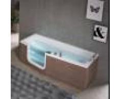 Novellini Baignoire avec porte Iris Hydro Plus 180x70 / 80 à panneaux effet bois - Droit -