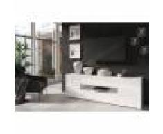 CRDIS Meuble TV design, 2 portes, 1 tiroir, Gamme Notte Blanc