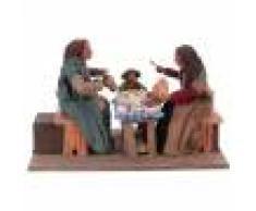 Scène famille à table avec enfant 24 cm mouvement crèche Naples