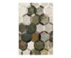 Esprit Tapis motif cercles vintage vert/gris pour salon, chambre 170x120