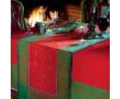 Garnier Thiebaut Chemin de table antitache déperlant pur coton rouge 55X150