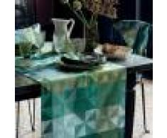 Garnier Thiebaut Chemin de table pur coton vert 155X55