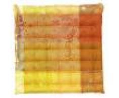 Garnier Thiebaut Galette de chaise enduit imperméable pur coton orange 38X38