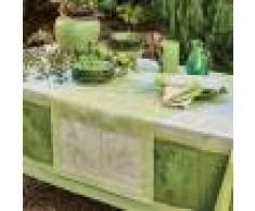 Garnier Thiebaut Chemin de table antitache déperlant pur coton vert 54X180