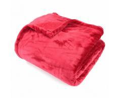 Couverture polaire 240x260 cm Microfibre 100% Polyester 320 g/m2 VELVET Rouge