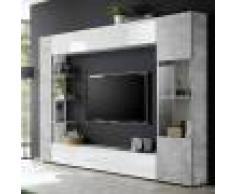 NOUVOMEUBLE Meuble tv mural blanc et gris design FINO 2