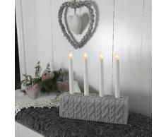 KNITTED-Chandelier Mailles 4 bougies à ampoules H28cm gris Xmas Living Glass