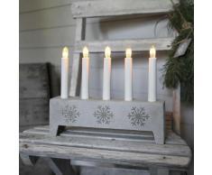 SNOWFLAKE-Chandelier Polypierre Gris Flocon 5 bougies à ampoules 22cm gris clair Xmas Living Glass
