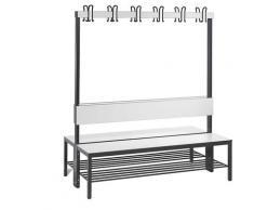 Banc de vestiaire BASIC PLUS double face surface de l'assise en stratifié HPL, barre à patères, avec grille pour chaussures   CP