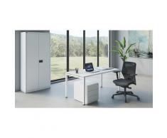 Bureau complet WHITE LINE STARTER armoire à portes battantes, caisson roulant, bureau, siège pivotant | BISLEY