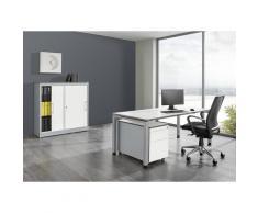 Bureau complet ARCOS bureau, armoire à portes coulissantes, caisson roulant avec tiroir pour dossiers suspendus | mauser
