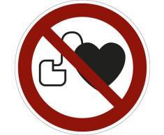 Panneaux d'interdiction interdit aux personnes portant un stimulateur cardiaque, lot de 10