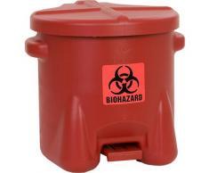 Poubelle de sécurité en PE pour déchets à risques biologiques autocollant BIOHAZARD, capacité 38 l, avec pédale | Justrite
