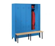 Vestiaire avec banc frontal portes à parois pleines, largeur compartiments 300 mm, 5 compartiments   Wolf