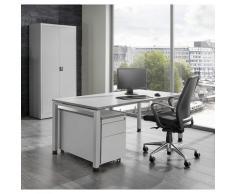 Bureau complet ARCOS bureau, armoire à porte battante, caisson roulant avec tiroir pour dossiers suspendus | mauser
