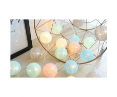 Guirlande lumineuse avec boules de coton LED : Blanc / x2