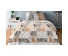 Pack complet de linge de lit 4 ou 6 pièces : 160 x 200 cm / Perroquet naturel
