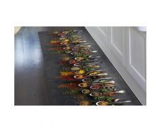 Tapis de cuisine en PVC : 52 x 140 cm / Cuillères
