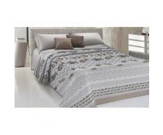 Couvre-lit motif poissons : Pour lit 1 place et demie / Beige